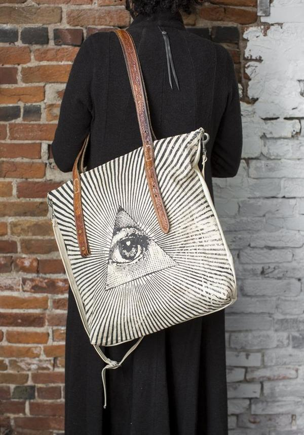 Totem Salvaged All Seeing Eye Twin Zipper Leather Tote - Black/White