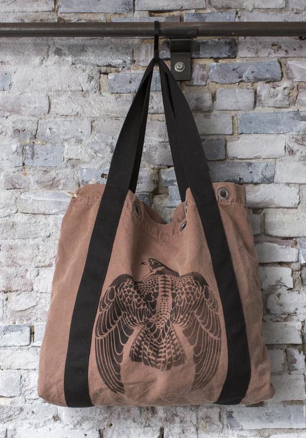 Light Brown Vintage Mail Bag with Black Falcon Motif