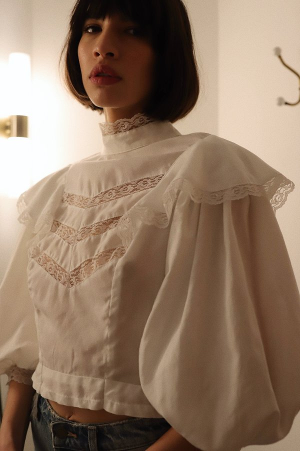 Vintage Cotton Lace Puff Sleeve Top - White