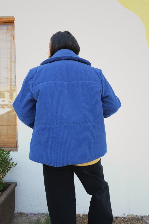 siesta jacket sample in azul cord (size small)