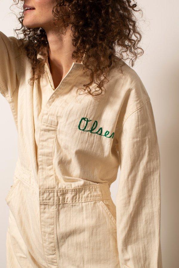 Vintage Olsen's Herringbone Coveralls - Ecru