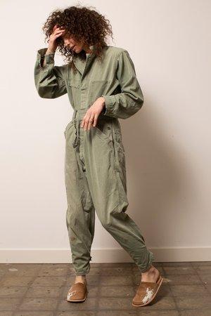 Vintage Herringbone Military Flight Suit