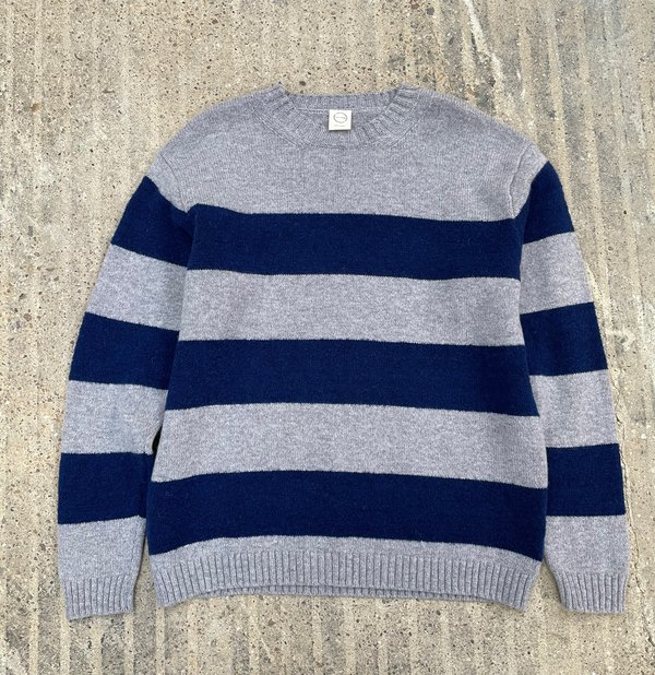 Country of Origin Fleece Stripe Crew Sweater - Gray/Navy