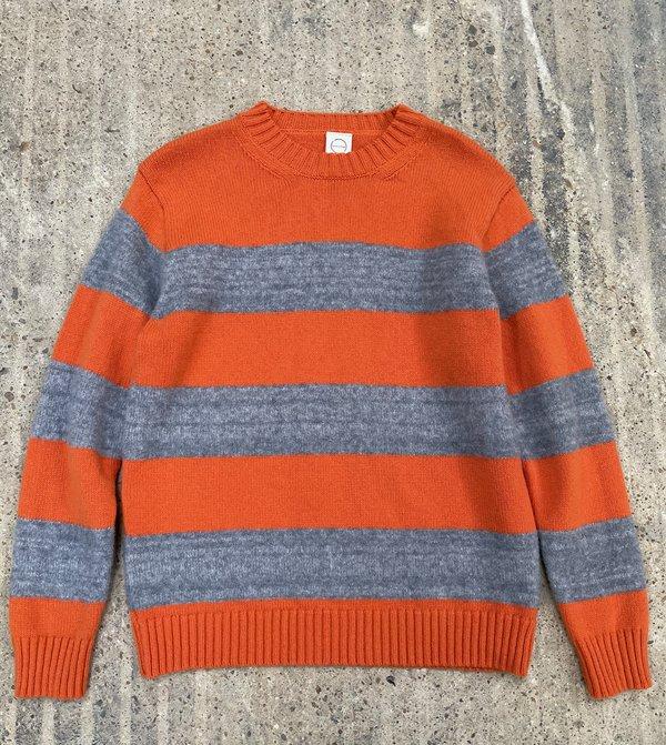 Country of Origin Fleece Stripe Crew Sweater - Orange/Gray