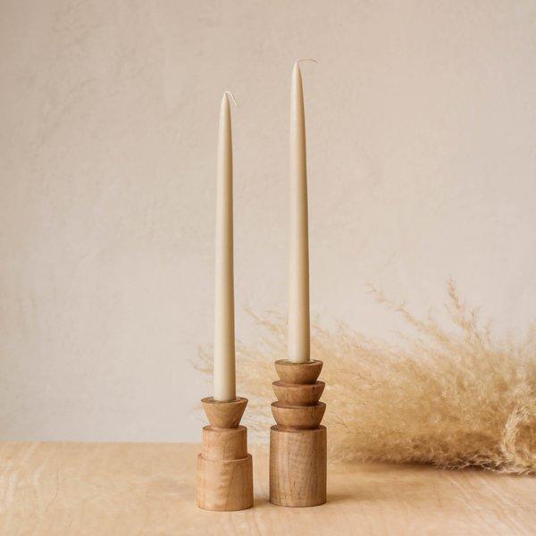 Large Maple Candlestick Holders- Set of 2