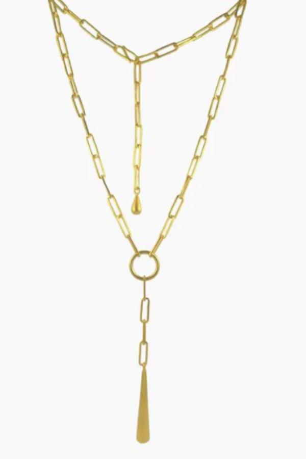 Jane Diaz Paper Clip Chain with Large Drop Necklace - Gold