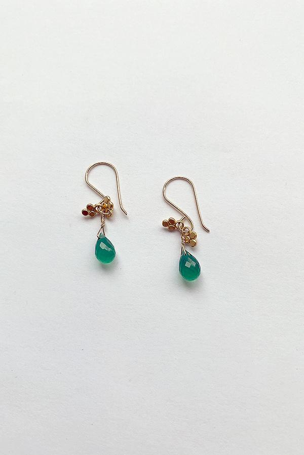 Debbie Fisher Drop Earring - Green Onyx/Gold