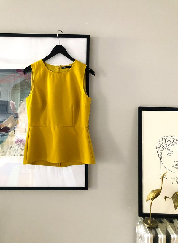 Peplum Shell Top - Mustard - XS