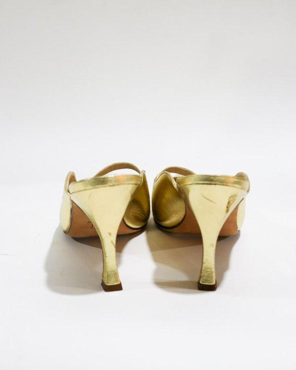 Manolo Blahnik Metallic Cutout Mules, Size 37