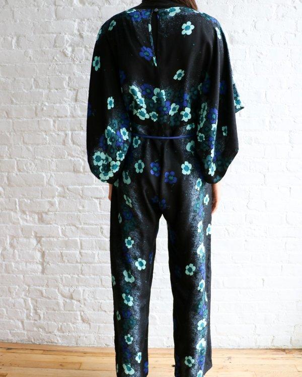 [Pre-loved] Warm Wide Leg Jumpsuit - Black Floral