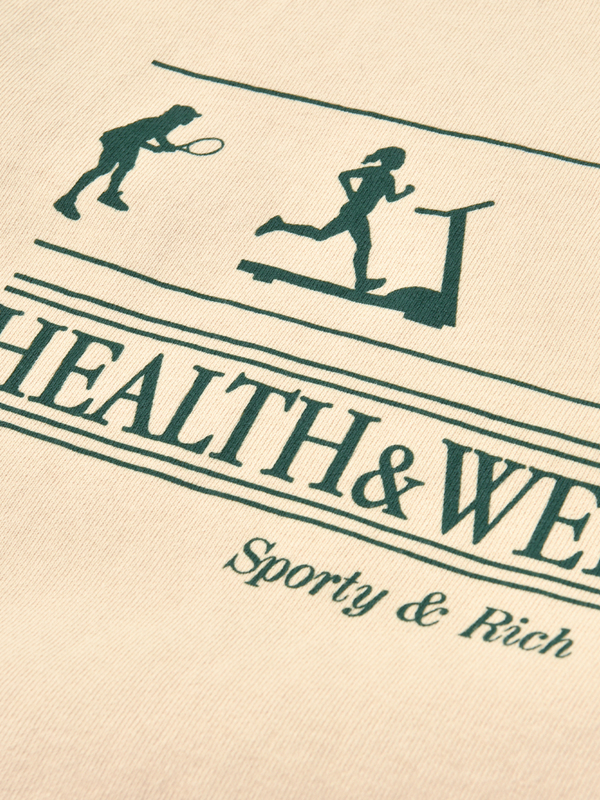 Sporty & Rich Health, Wellness Crewneck - Cream Puff/Forest Green