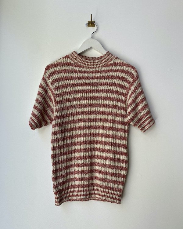 60s Striped SS Knit Top - Red Multi