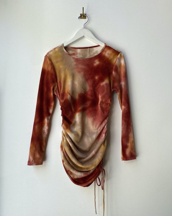Hand Dyed Tie Sides Top - Red Multi