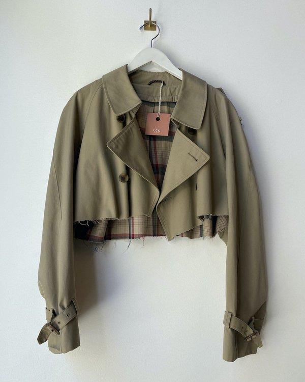 Remastered Trench Cropped Jacket - Khaki