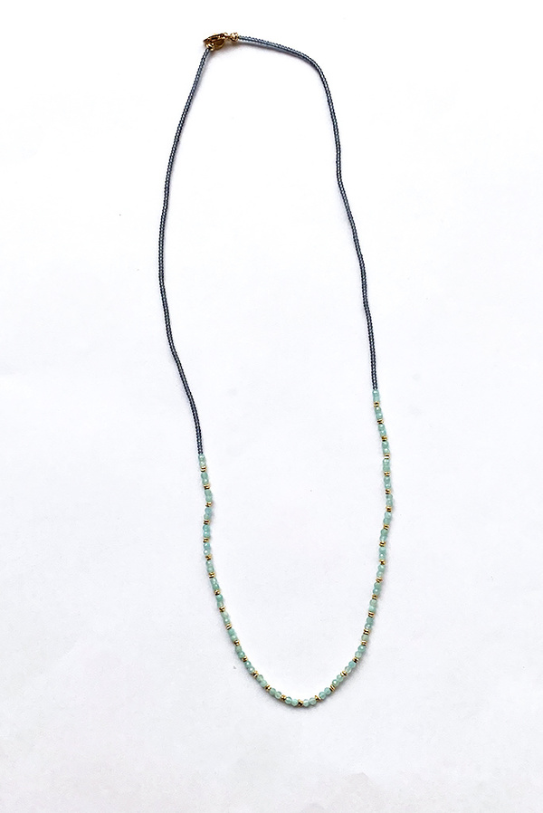 Debbie Fisher Grey Seed with Amazonite and Gold Vermeil Bead Necklace - Golg/Gray/Blue