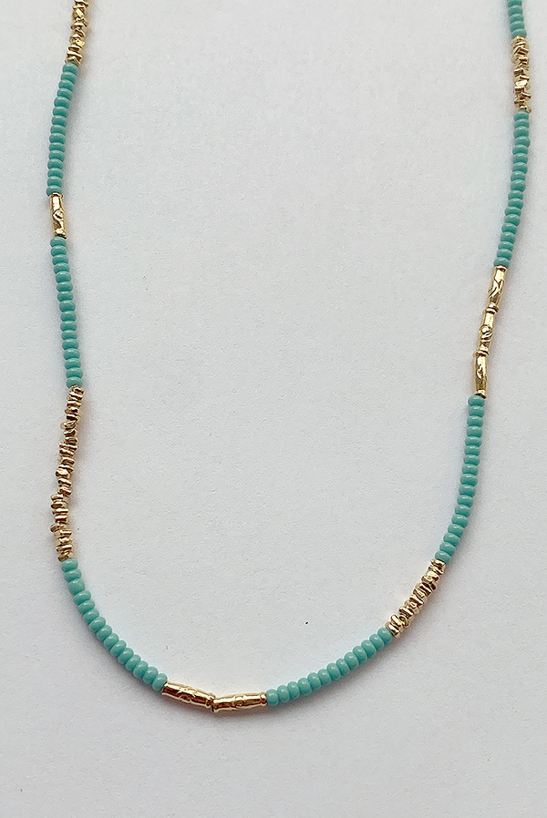 Debbie Fisher Seed Beaded Necklace - Turquoise