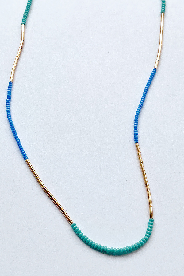 Debbie Fisher Seed Necklace - Turquoise/Blue