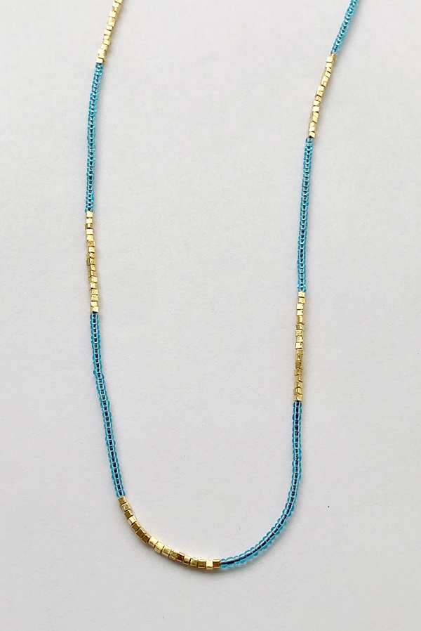 Debbie Fisher Clear Blue Seed with Gold Vermeil Necklace