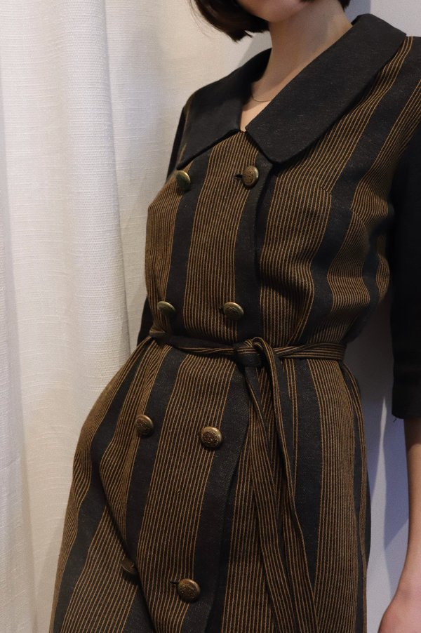 Vintage 60s Striped Collar Mini Dress - Gray/Brown