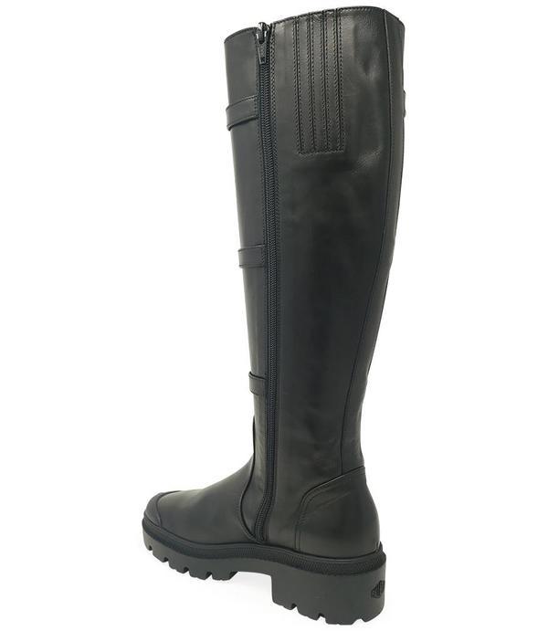 Madison Maison By Palladium Leather Knee High Buckle Boot - Black