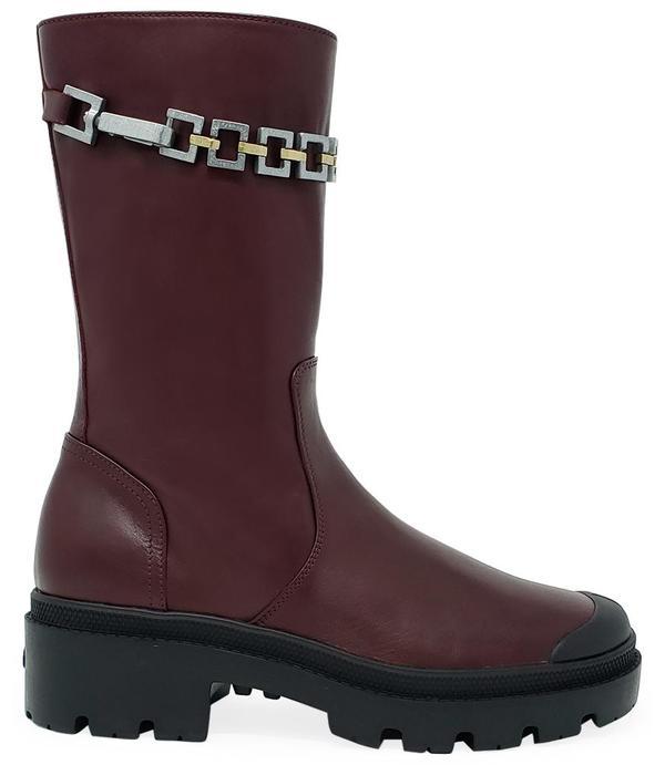 Madison Maison By Palladium Leather Chain Boot - Burgundy