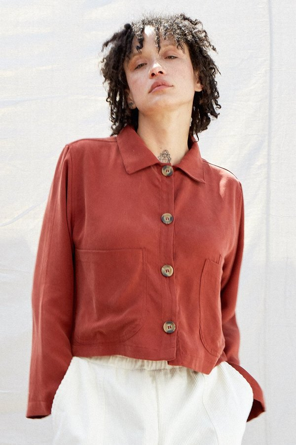 SECONDS- Tencel Cropped Shirt Jacket
