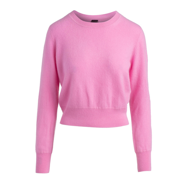 Naadam Cropped Crew Pullover - Bubblegum Pink