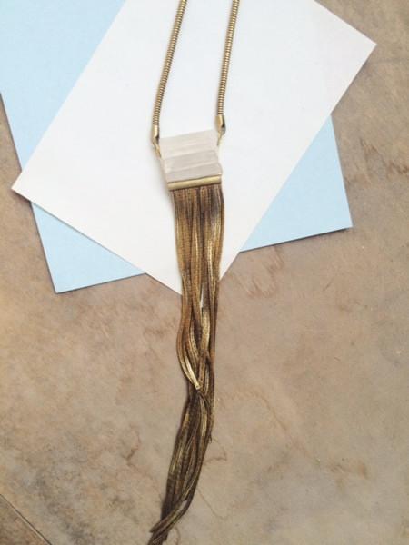 Beach Bones Waterfall Necklace (Crystal)