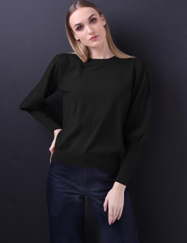 Minnie Rose Bishop Puff Sleeve Sweater - Black