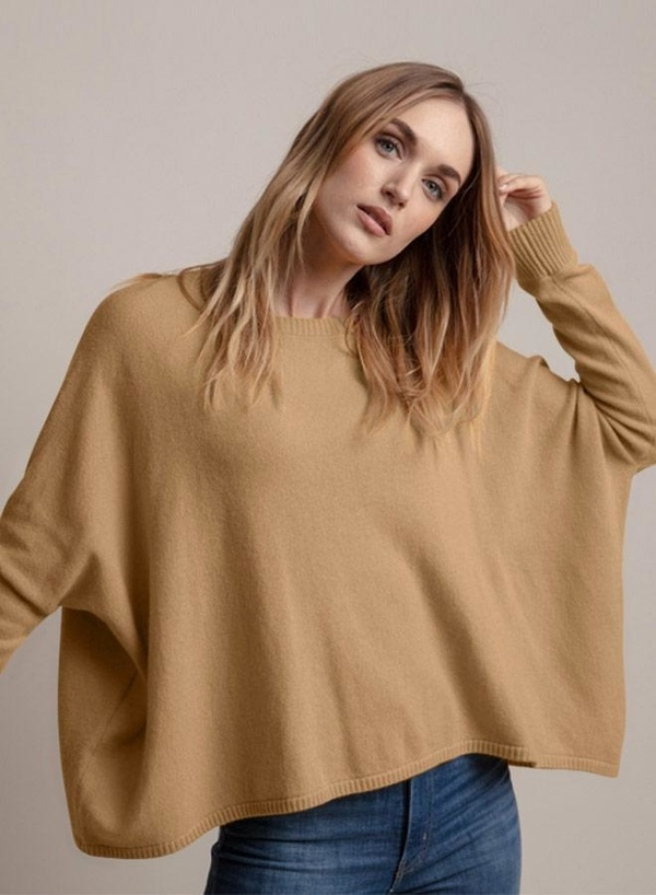 Minnie Rose Cropped Boyfriend Sweater - Camel