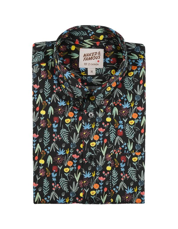 Naked & Famous Easy Shirt Pastel Flowers top - Black