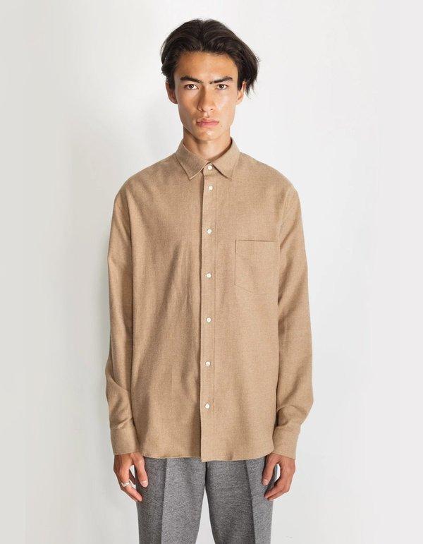 National Standards Japanese Soft Flannel Relaxed Fit Shirt - Camel Melange