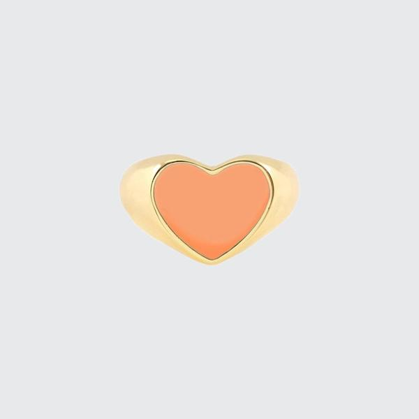 Kris Nations Heart Enamel Signet Ring - CORAL