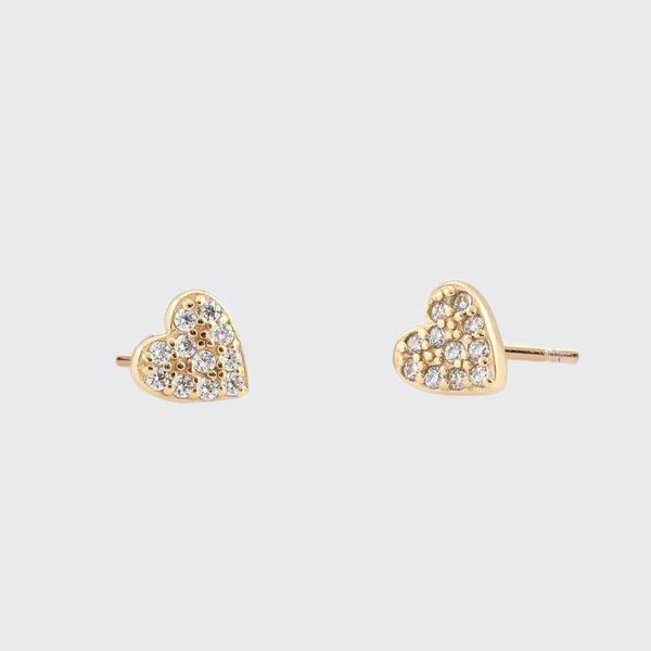 Kris Nations Pave Heart Stud Earrings - 18KGV
