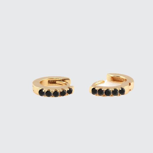 Kris Nations Pave Huggie Hoop Earrings - BLK