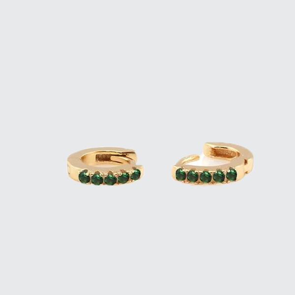 Kris Nations Pave Huggie Hoop Earrings - Emerald