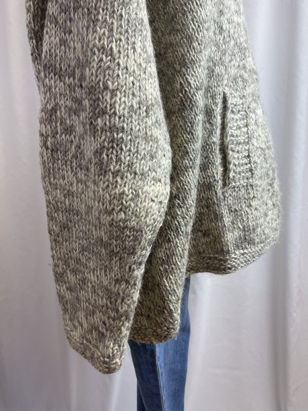 Vintage Chunky Knit Wool Hoodie - cream/tan