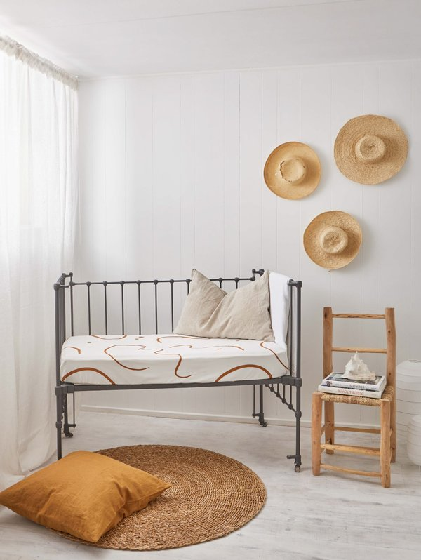 Mosey Me Salento Fitted Cot Sheet - Clay