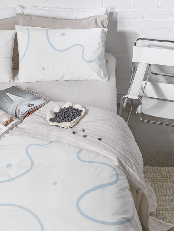 Mosey Me Salento Quilt Cover Set - Blue & Clay