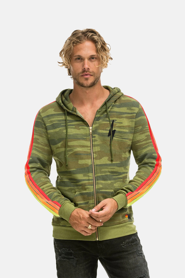 Aviator Nation Classic 4 Stripe Bolt Hoodie Sweater - Camo Neon Stripe