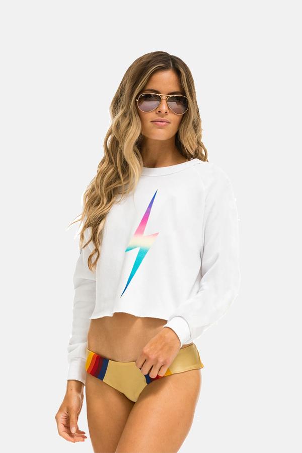 Aviator Nation Bolt Crop Crewneck Sweater - White/Pink