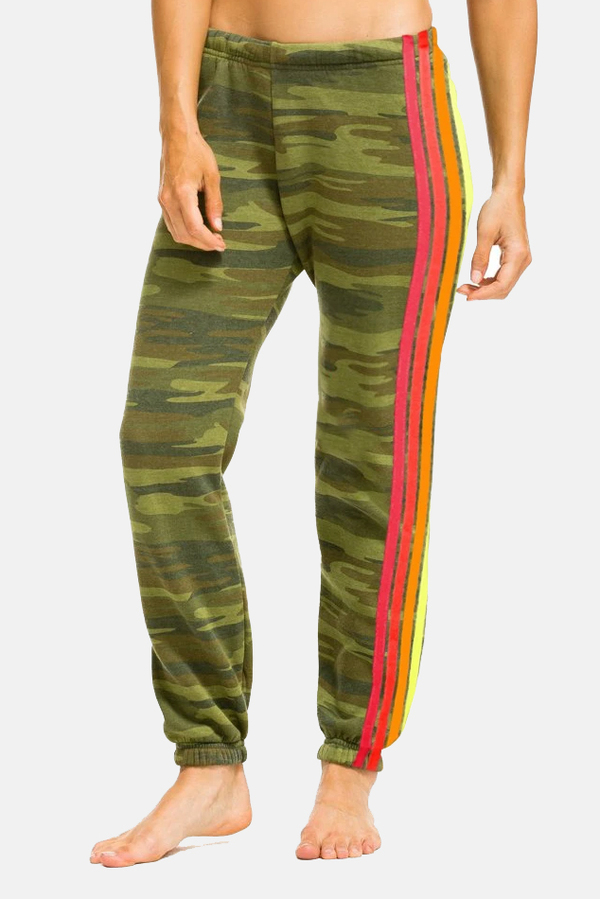 Aviator Nation 4 Stripe Sweatpant - Camo/Neon