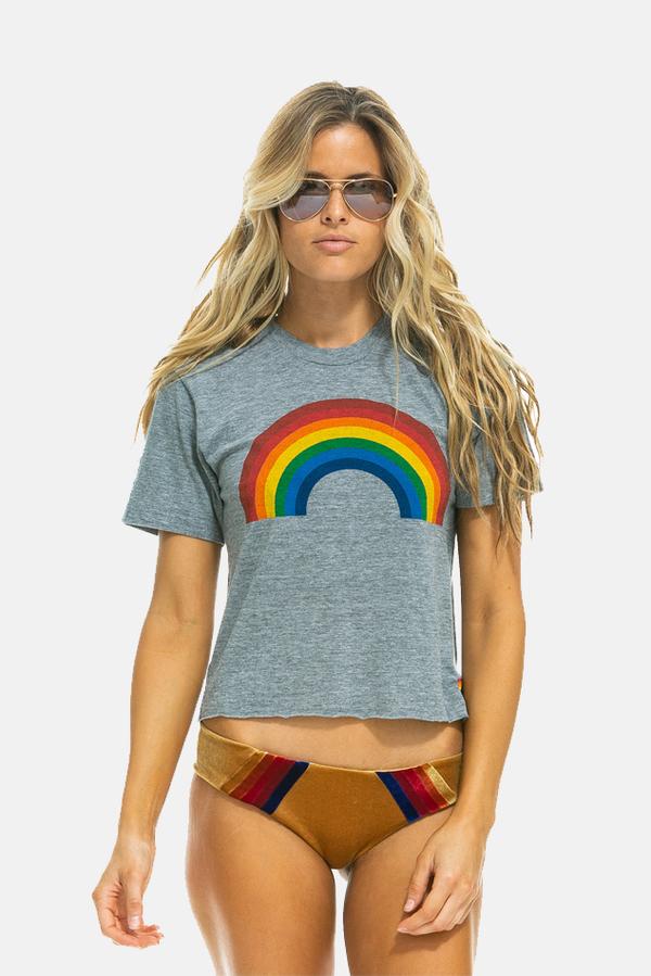 Aviator Nation Big Rainbow Boyfriend T-Shirt - Heather Grey