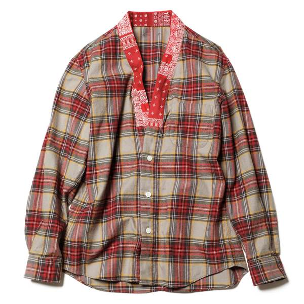 Flannel Check Gown Shirt - Beige