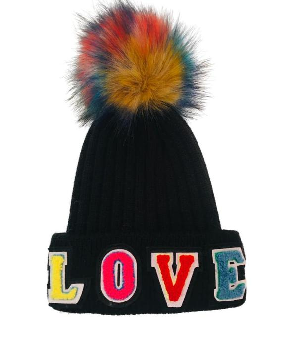 Jocelyn Fur Tribeca Love Beanie - Black