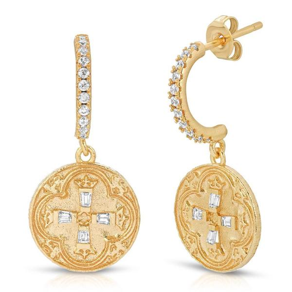 Joy Dravecky Dominique Coin Huggie Earrings - Gold