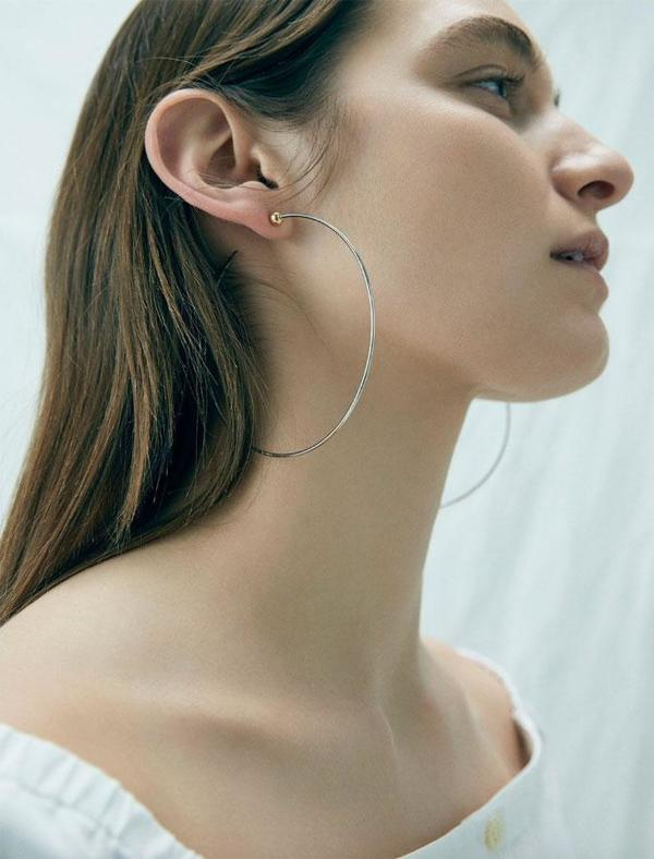 Jenny Bird Large Icon Hoops - Silver/14K gold-dipped brass