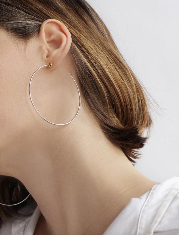 Anine Bing Medium Icon Hoops - Silver/14K gold-dipped brass