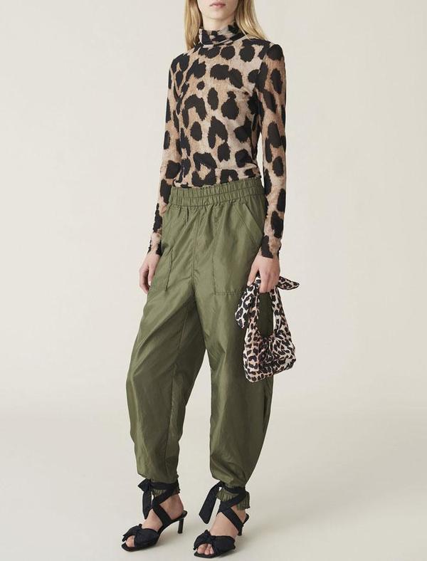Ganni Padded Tech Mini Tote Bag - Leopard