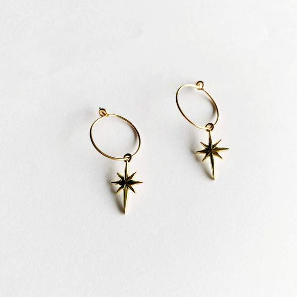 Gold Fill Starburst Hoop Earrings